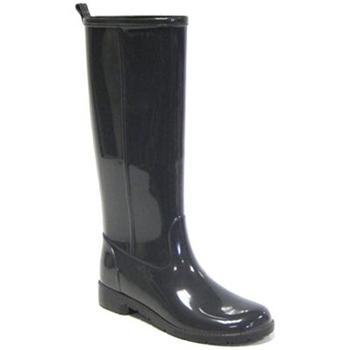 Ma Cri Black Ribot Tall Gloss Wellington Boots 3cm Heel