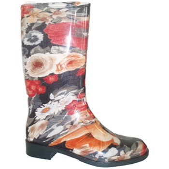 Ma Cri Black/Multi Rose Mid Wellington Boots 3cm Heel