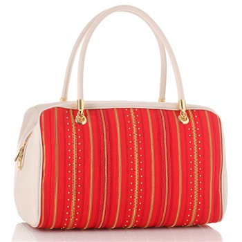Love Moschino Red/Ivory/Gold Zip Stripe Borsa Capra Handbag