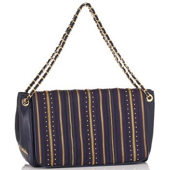 Love Moschino Navy/Gold Zip Stripe Borsa Capra Shoulder Bag