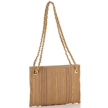 Love Moschino Natural/Gold Zip Stripe Borsa Capra Small Shoulder Bag