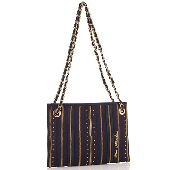 Love Moschino Navy/Gold Zip Stripe Capra Small Shoulder Bag