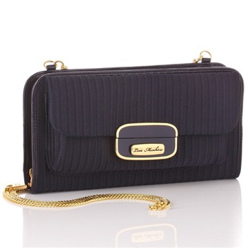 Love Moschino Navy Textured Small Ottoman Shoulder Bag
