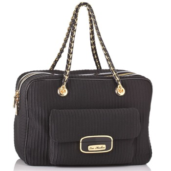 Love Moschino Black Textured Ottoman Box Handbag