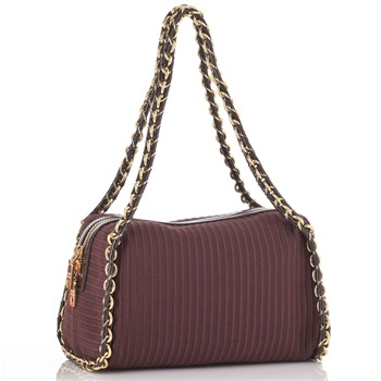 Love Moschino Maroon Chain Trim Textured Ottoman Handbag