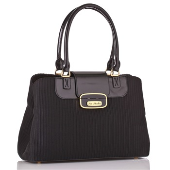 Love Moschino Black Textured Ottoman Handbag