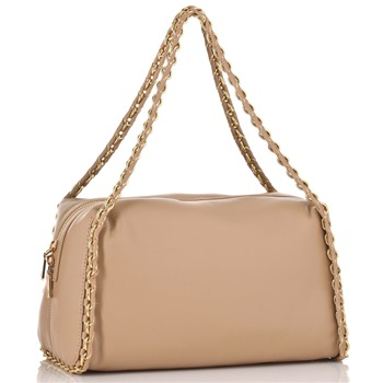 Love Moschino Beige/Gold Chain Trim Nappa Handbag