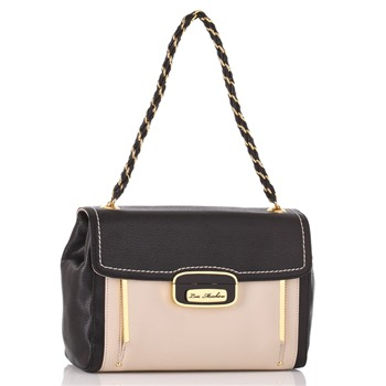 Love Moschino Black/Ivory Paneled Capra Handbag