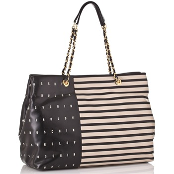 Love Moschino Ivory/Black Striped and Logo Print Borsa Shopper