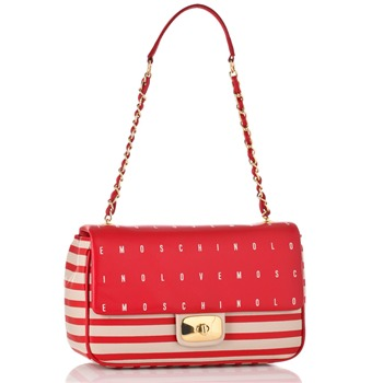 Love Moschino Ivory/Red Striped and Logo Print Borsa Handbag
