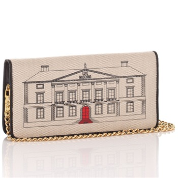 Love Moschino Ivory Canvas Palazzo Drawing Small Handbag