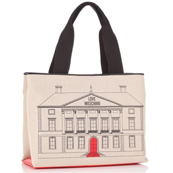 Love Moschino Ivory Canvas Palazzo Drawing Shopper