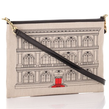 Love Moschino Ivory Canvas Palazzo Drawing Cross Body Bag