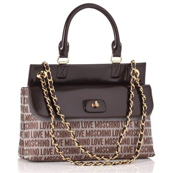 Love Moschino Brown Logo Print Jacquard Borsa Tess Small Handbag
