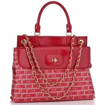 Love Moschino Red Logo Print Borsa Tess Handbag
