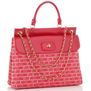 Love Moschino Red Logo Print Jacquard Borsa Tess Shoulder Bag