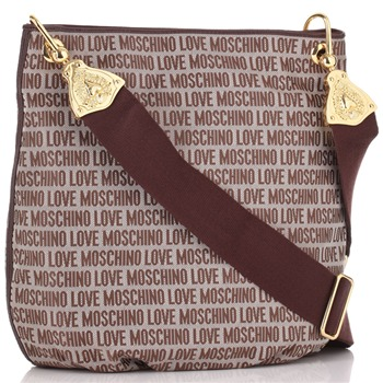 Love Moschino Maroon Logo Print Jacquard Shoulder Bag