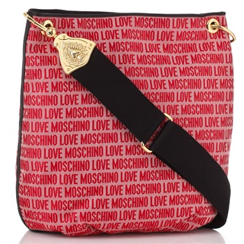 Love Moschino Red Logo Print Jacquard Large Cross Body Bag