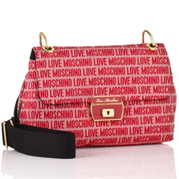 Love Moschino Red Logo Print Jacquard Canvas Strap Shoulder Bag