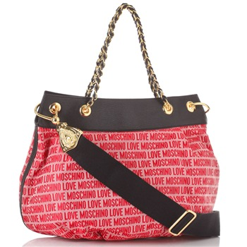 Love Moschino Red/Black Logo Print Jacquard Shoulder Bag
