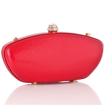 Love Moschino Red Rectangular Clutch Hard Case Bag