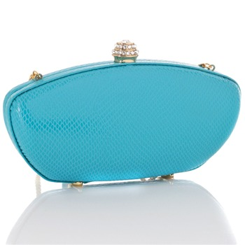 Love Moschino Blue Rectangular Clutch Hard Case Bag