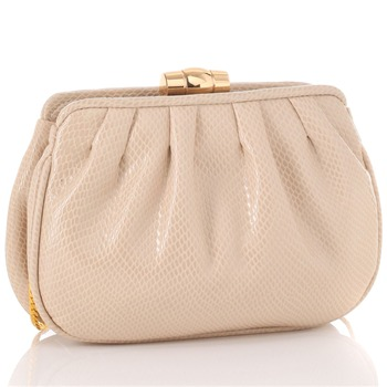 Love Moschino Ivory Lizard Skin Pleated Clutch Bag