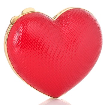 Love Moschino Red/Gold Heart Shaped Hard Case Bag