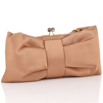 Love Moschino Bronze Satin Large Bow Clutch Bag
