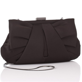 Love Moschino Black Satin Pleated Clutch Bag