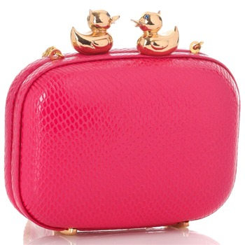 Love Moschino Pink/Gold Square Hard Case Bag