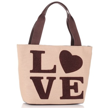 Love Moschino Beige/Brown Love Logo Borsa Shopper
