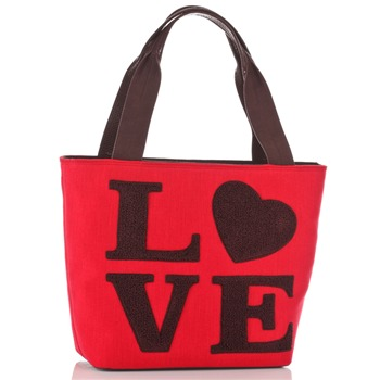 Love Moschino Red/Brown Love Logo Borsa Shopper