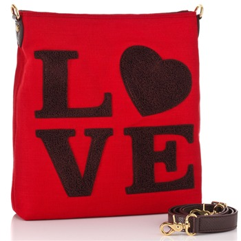 Love Moschino Red/Brown Love Logo Cross Body Bag