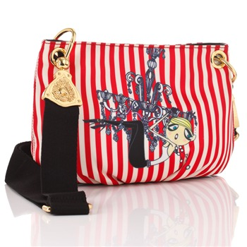 Love Moschino Red/White Striped Satin Cross Body Bag