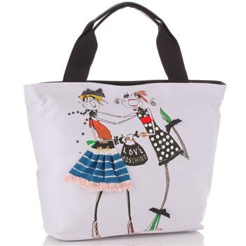 Love Moschino White Canvas Cartoon Fashion Girl Print Tote Bag