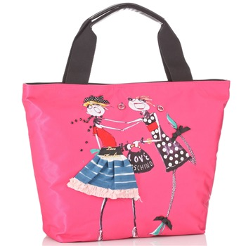 Love Moschino Pink Canvas Cartoon Fashion Girl Print Borsa Tote Bag