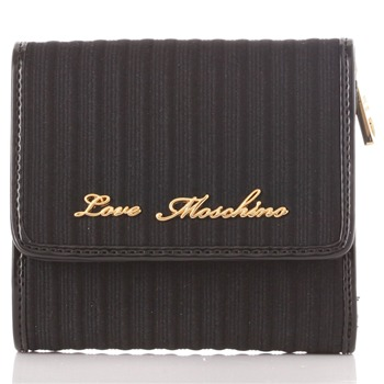 Love Moschino Black/Gold Branded Small Fold-Over Purse