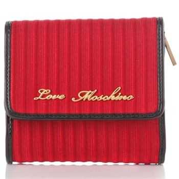 Love Moschino Red Branded Fold-Over Textured Purse