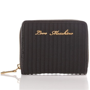 Love Moschino Black/Gold Branded Textured Purse