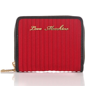 Love Moschino Red/Gold Branded Textured Purse