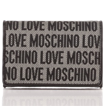 Love Moschino Black Logo Print Jacquard Card Holder Purse