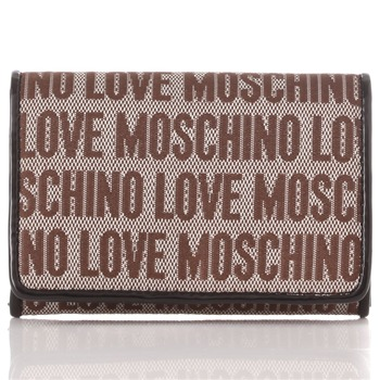 Love Moschino Brown Logo Print Jacquard Card Holder Purse
