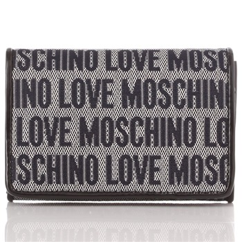 Love Moschino Navy Logo Print Jacquard Card Holder Purse
