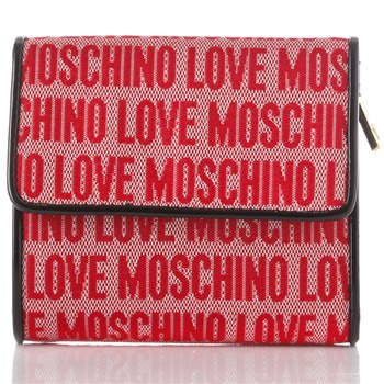 Love Moschino Red Logo Print Jacquard Small Purse