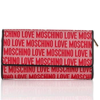 Love Moschino Red Extra Large Logo Print Jacquard Purse