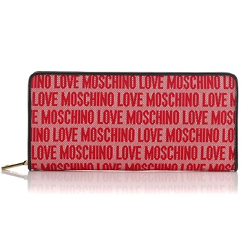 Love Moschino Red Extra Large Logo Print Zip Around Purse