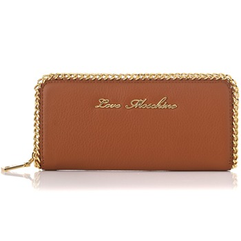 Love Moschino Tan/Gold Chain Trim Leather Purse