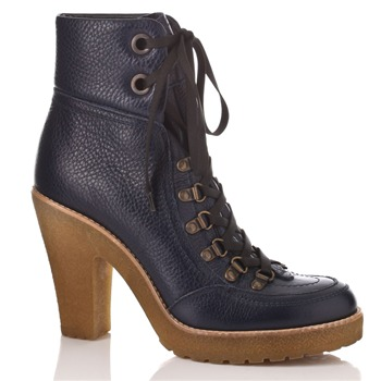 Cinti Blue Lace-up Leather Boots 11cm Heel