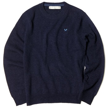 Crew Clothing Navy Lambswool Cane Jumper